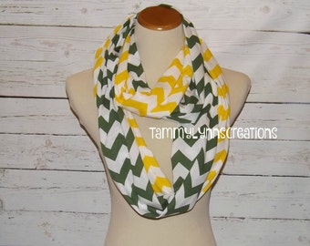 SALE!!  HUNTER/Treetop Green and Yellow Chevron Long 2 Pair Team Game Scarves Jersey Knit Infinity