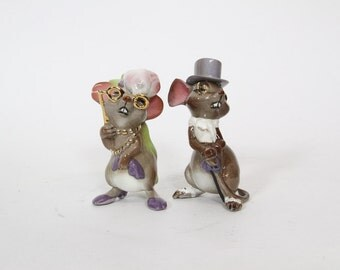Vintage Anthropomorphic Ceramic Opera Fancy Mice Figurines