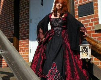 Gothic Garnet 18th century fantasy gown (made to order)