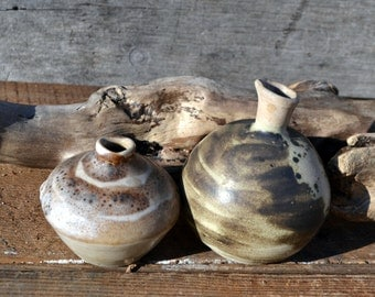 Vintage hand thrown studio pottery micro vessels/bud vases  with shades brown glaze/2