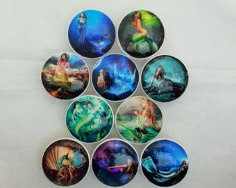 Set of 10 Mythical Mermaid Cabinet Knobs