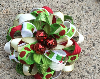 Classic Christmas hair bow, Christmas hairbow, Red and green bow, Holidays bow, Big Christmas hair bow, Girls Christmas bow