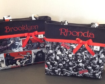 Personalized small ribbon tote bag made with Walking Dead fabric