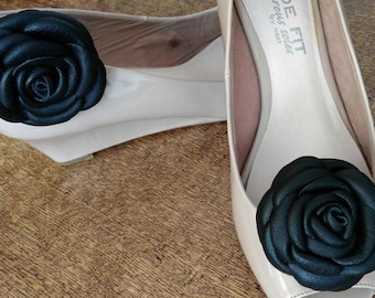 Shoe clip  flower Leather flowers  Black Roses  Shoes Clips  Real leather Black Flowers Roses Shoe Clip Flower Accessories