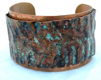 Turquoise Patina Copper Fold Formed Cuff, Recycled Copper, Upcycled Copper