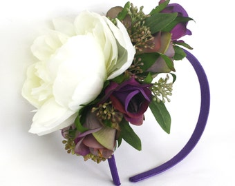 Floral Headband, Purple Roses with white peony & berries,  Peony Floral Head Band