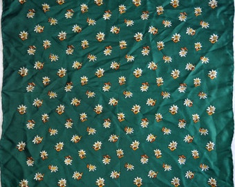 Vintage scarf pure silk edelweiss green