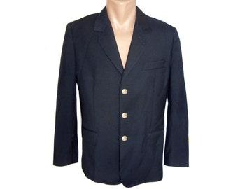 Vintage men blazer jacket black 100% new wool