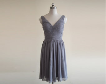 Gray V-neck Knee Length Bridesmaid Dress Grey Short Chiffon Bridesmaid Dress With Straps