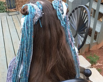 Blue and grey hair fall set