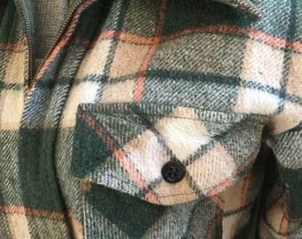 50s Kings Road Mens Green Plaid Zipper Flannel Shirt Vintage Jacket