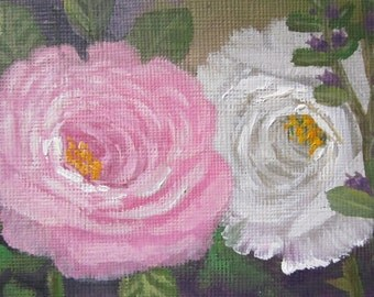 Roses, ACEO, original oil painting