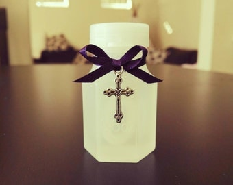 40 Wedding Bubble Bottles with Plum purple Ribbon and silver cross charm