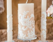 Caramel & lace wedding unity candles, rustic chic wedding, vintage chic, rustic wedding ideas, country wedding, vintage candle set, 3pcs