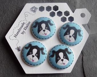 Fabric Covered Buttons - 4 x 28mm Buttons, Handmade Button, Blue Dog Buttons, Hound Buttons, Animal Buttons, Cute Kawaii Buttons, Blue, 2750