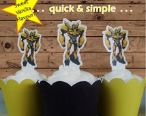 Bumblebee Transformers EDIBLE wafer stand up toppers PRE-CUT