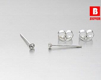 925 Sterling Silver Earrings, Tiny White Crystal Circle Earrings, Stud Earrings, Size 1.5 mm (Code : EF18A)