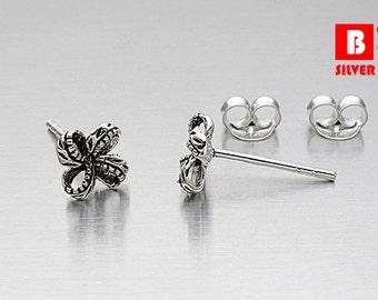 925 Sterling Silver Oxidized Earrings, Knot Earrings, Stud Earrings (Code : K18)