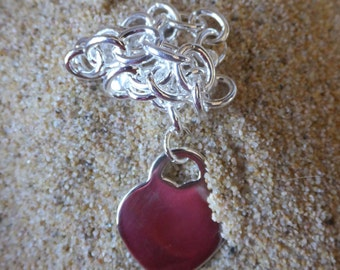 Sterling Silver Heart Chain Bracelet 8 inches in length