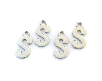 """5x Letter """"S"""" Silver Plated Initial Charms - M121-S"""
