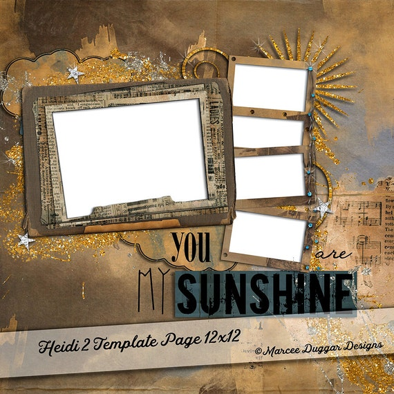 Template Photo Album Page | Digital Scrapbooking | Scrapbook | Add Photos | Sapphire | Cloud Backgrounds | My Sunshine | Gold