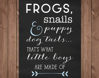 Nursery Print, Baby Shower Print, Frogs, snails & puppy dog tails...that's what little boys are made of chalkboard printable 5x7 and 8x10