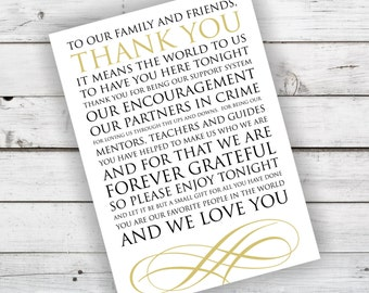 Wedding Reception Thank You Card in Black and Champagne - INSTANT DOWNLOAD
