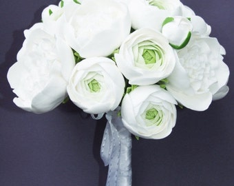 25% OFF Clay wedding bouquet and boutonniere set, Bridal bouquet, White peonies and ranunculus, Natural look bouquet