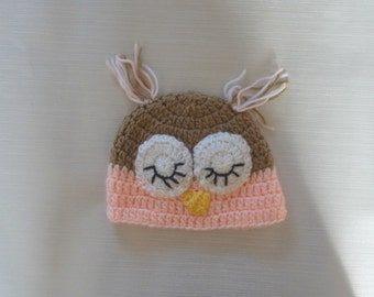 Sleeping owl hat with ear tassels, crochet baby hat, new born hat, baby girl hat