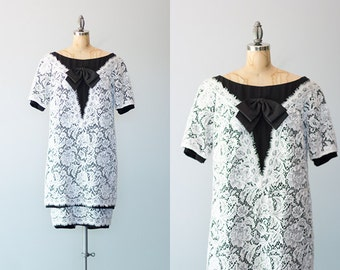 FILM NOIR dress | 1960s black and white lace shift dress by Mignon