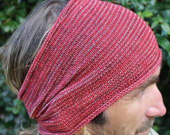 EXTRA Wide Red Dreadlock Headband, Knit Headwrap, Mens Headwrap, Red Sweatband, Extra Wide Headband, Dreadband, Mens Accessories, Red Locs