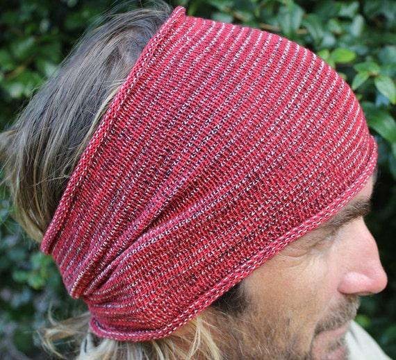 EXTRA Wide Red Dreadlock Headband Knit Headwrap Mens