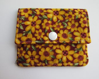 Compact Snap Wallet with card slots, and a pocket at the back for folded cash or receipts. Maroon, Flowers, Orange, Sunflowers
