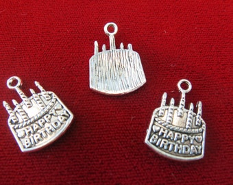 """BULK! 30pc """"Happy birthday"""" charms in antique silver style (BC226B)"""