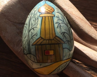 Vintage Russian Hand Painted Lacquer Egg With Cathedral Scene