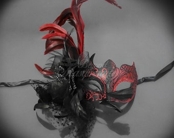 Masquerade Mask, Red Feathers, Masquerade Ball Mask, Red/Black Masquerade Mask, Venetian Mask, Feather Mask
