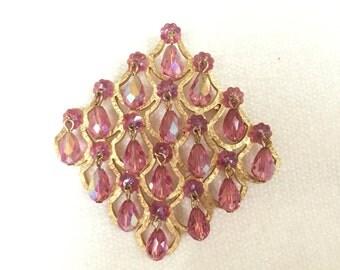 SALE Pink aroura borealis brooch