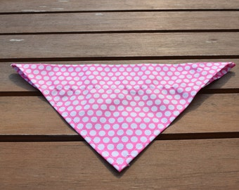 Handmade Light Pink Slip-on-Dog Bandana, Dog Bandana, Polka Dot Dog Bandana, Spotty Dog Bandana, Spot Dog Bandana, Pink Spot Dog Bandana