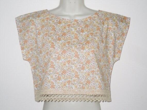 Vintage Floral Cotton & Lace 80's Retro Style Crop Top Pastel Summer Mix Size Small