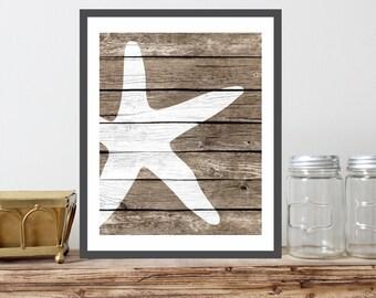 Starfish Art Print - Faux Wood, Rustic Nautical Wall decor, Sea Life art, Beach Wall Art Decor, Nautical Bathroom, Coastal Living Decor