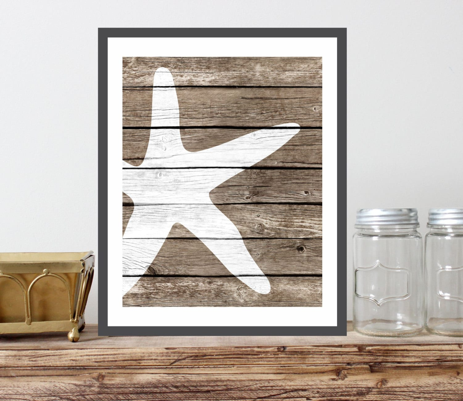 Starfish art print faux wood rustic nautical by verboseprints for Wood bathroom wall decor