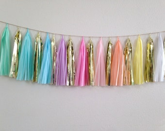 PASTEL DREAM Tassel garland metallic silver,white,pink,mint and giant balloon tassel rainbow