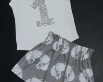 First Birthday outfit, number shirt and skirt, floral baby birthday set, First birthday number shirt
