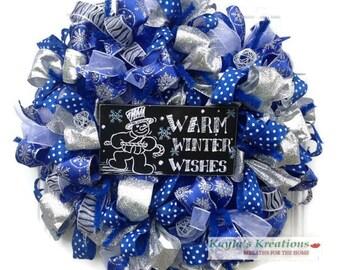 Blue and Silver Wreath, Winter Wreath For Front Door, Winter Door Wreaths, Snowman Mesh Wreath, Blue Christmas Wreath, Winter Mesh Wreath
