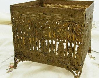Vintage Gold Filigree Tissue Box Holder Shabby Chic Victorian Style