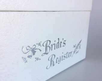 White Bridal Box, Metallic Silver Bride's Register, Wedding Bells Flowers Feather, Vintage Keepsakes Notecards Pics and Plans