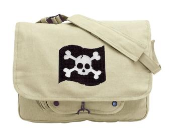 Jolly Roger Pirate Flag Skull and Crossbones Embroidered Canvas Messenger Bag