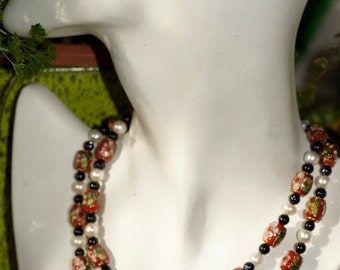 Ref.011/  Long Red cloisonne, white pearl and blue goldstone necklace.