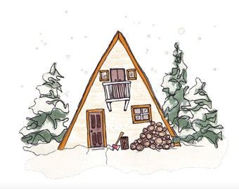Winter A-Frame Cabin Art Print 10x8