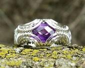 Size 5.25 Symmetrical Checkerboard Amethyst 925 Ring